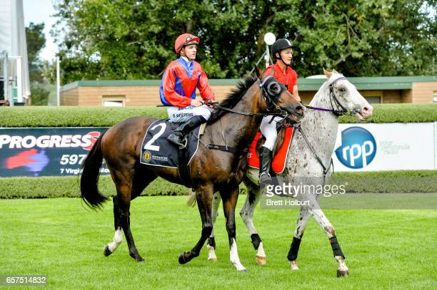 Beau Mertens returns to the mounting yard aboard Hokkaido after winning the Mitavite Challenge Final at Mornington Racecourse on March 25 2017 in...
