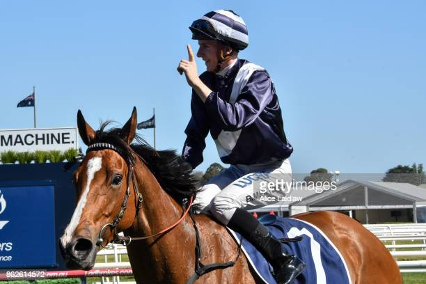 Beau Mertens returns to the mounting yard aboard Quilate after winning the Nick Johnstone Real Estate Ladies' Day Vase at Caulfield Racecourse on...