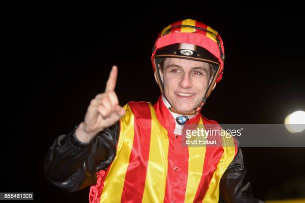 Beau Mertens returns to the mounting yard aboard Showtime after winning the Johnnie Walker Stutt Stakes at Moonee Valley Racecourse on September 29...