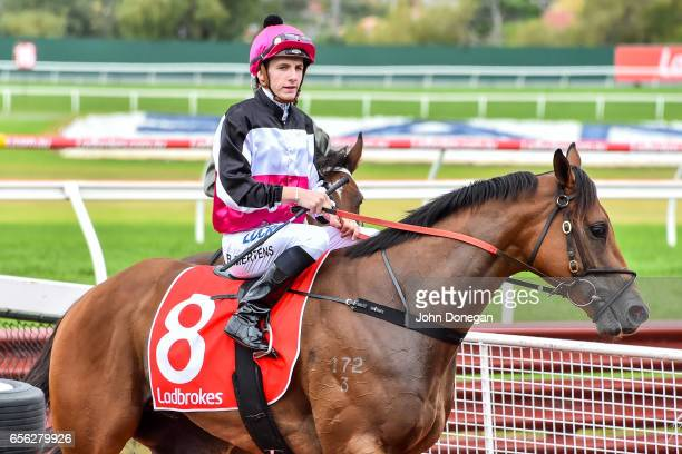 Beau Mertens returns to the mounting yard aboard Tenappy Ladies after winning the Comcater Plate at Ladbrokes Park Hillside Racecourse on March 22...