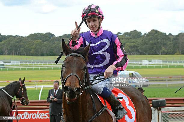 Beau Mertens returns to the mounting yard on Moss 'n' Dale after winning The Grand Hotel Frankston Hcp at Ladbrokes Park Lakeside Racecourse on...