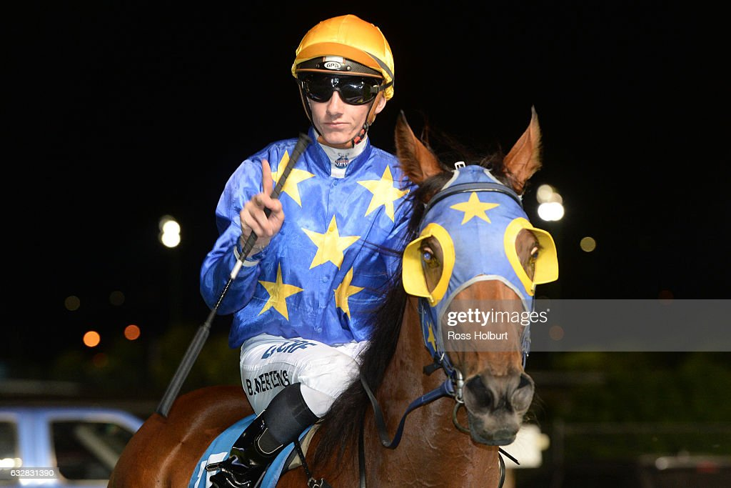 Beau Mertens returns to the mounting yard on Sasayuri after winning The Slade Bloodstock Handicap at Moonee Valley Racecourse on January 27, 2017 in Moonee Ponds, Australia.