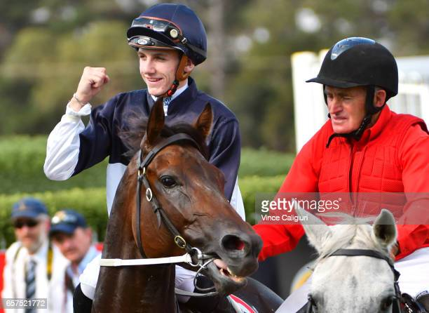Beau Mertens riding Bassett after winning Race 6 Hareeba Stakes during Ladbrokes Peninsula Cup Day at Mornington Racecourse on March 25 2017 in...