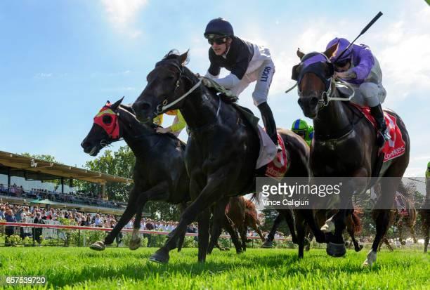 Beau Mertens riding Bassett defeats Jake Noonan riding Prussian Vixen in Race 6 Hareeba Stakes during Ladbrokes Peninsula Cup Day at Mornington...