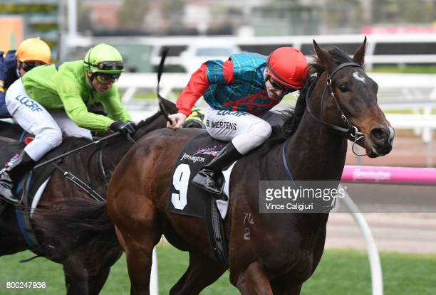 Beau Mertens riding Cannyescent wins Race 8 during Melbourne Racing at Flemington Racecourse on June 24 2017 in Melbourne Australia