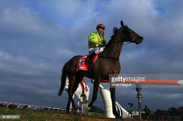 Beau Mertens riding Cismontane after finishing 2nd in Race 7 during Melbourne Racing at Sandown Hillside on July 19 2017 in Melbourne Australia