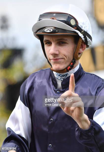 Beau Mertens riding Hans Holbein after winning Race 2 during Melbourne Racing at Flemington Racecourse on April 25 2017 in Melbourne Australia