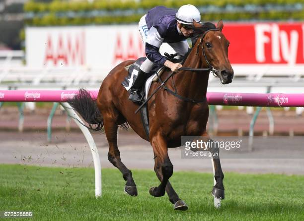 Beau Mertens riding Hans Holbein wins Race 2 during Melbourne Racing at Flemington Racecourse on April 25 2017 in Melbourne Australia