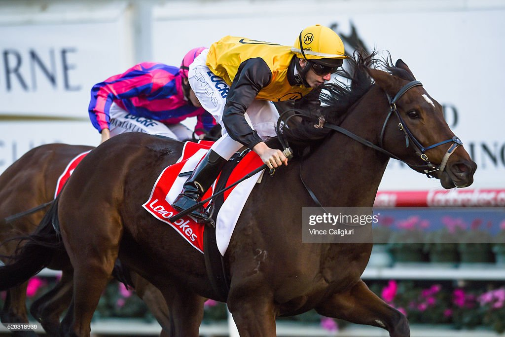 Beau Mertens riding Hard Call wins Race 9 during Melbourne Racing at Caulfield Racecourse on April 30, 2016 in Melbourne, Australia.