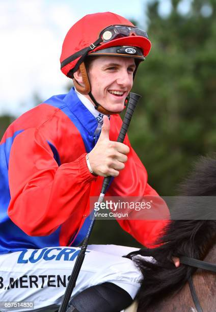 Beau Mertens riding Hokkaido after winning Race 5 during Ladbrokes Peninsula Cup Day at Mornington Racecourse on March 25 2017 in Melbourne Australia