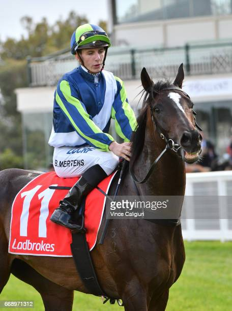 Beau Mertens riding Miss Gunpowder after winning in Race 7 during Melbourne Racing at Caulfield Racecourse on April 15 2017 in Melbourne Australia