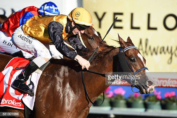 Beau Mertens riding Nat's the Boss wins Race 7 during Melbourne racing at Caulfield Racecourse on May 14 2016 in Melbourne Australia