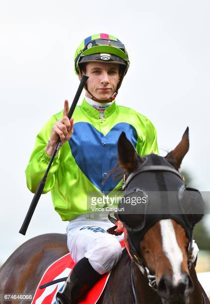 Beau Mertens riding Snitty Kitty after winning Race 4 during Melbourne Racing at Caulfield Racecourse on April 29 2017 in Melbourne Australia