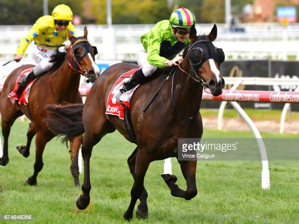 Beau Mertens riding Snitty Kitty wins Race 4 during Melbourne Racing at Caulfield Racecourse on April 29 2017 in Melbourne Australia