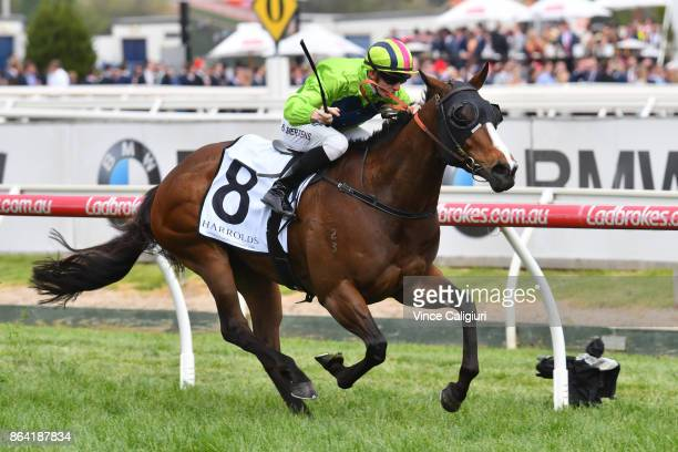 Beau Mertens riding Snitty Kitty wins Race 7 Caulfield Sprint during Melbourne Racing on Caulfield Cup Day at Caulfield Racecourse on October 21 2017...