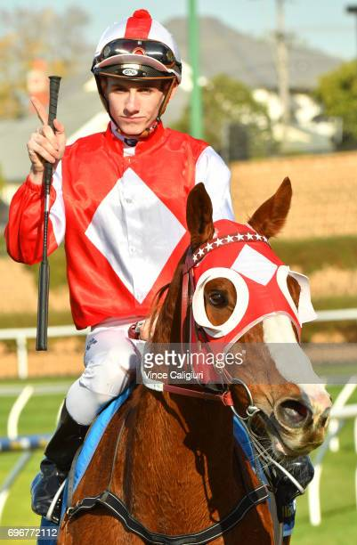 Beau Mertens riding Stylish Miss after winning Race 4 during Melbourne Racing at Moonee Valley Racecourse on June 17 2017 in Melbourne Australia