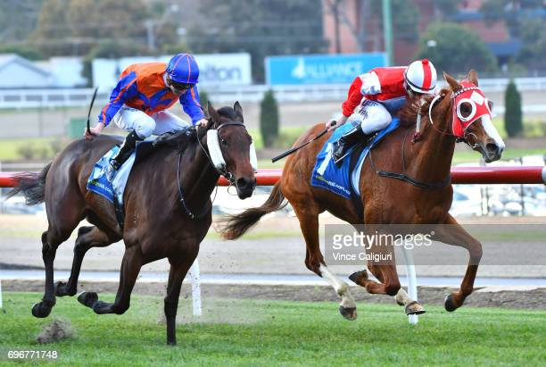 Beau Mertens riding Stylish Miss defeats Jye McNeil riding Mamzelle Tess in Race 4 during Melbourne Racing at Moonee Valley Racecourse on June 17...