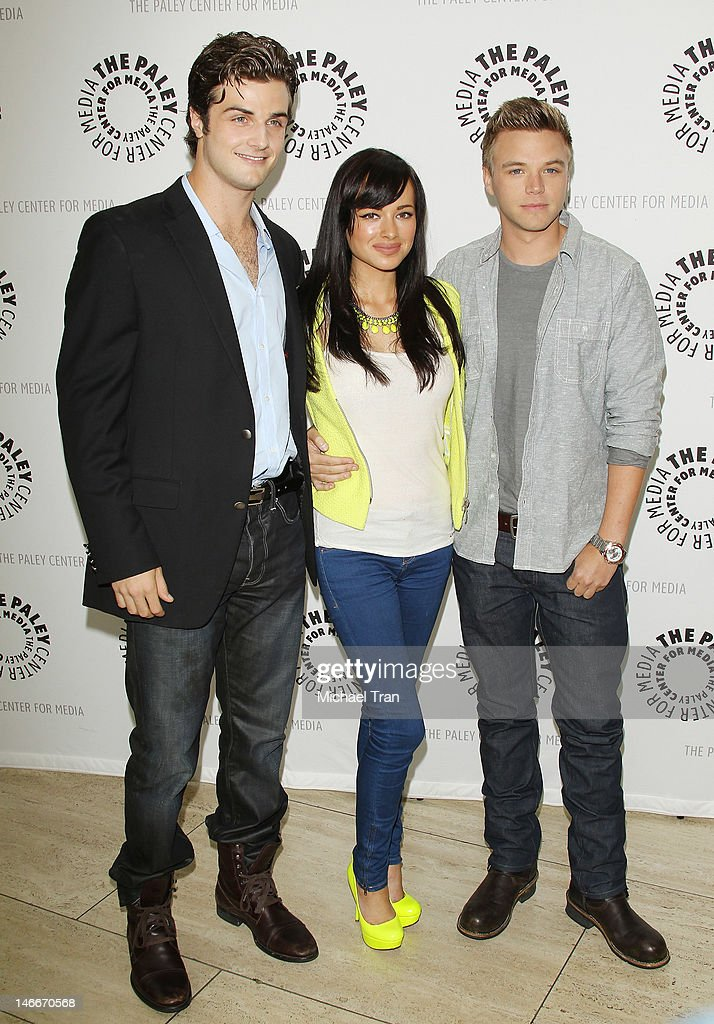 Beau Mirchoff, <a gi-track='captionPersonalityLinkClicked' href=/galleries/search?phrase=Ashley+Rickards&family=editorial&specificpeople=5056458 ng-click='$event.stopPropagation()'>Ashley Rickards</a> and Brett Davern arrive at season 2 premiere screening of MTV's comedy series 'Awkward' held at The Paley Center for Media on June 21, 2012 in Beverly Hills, California.