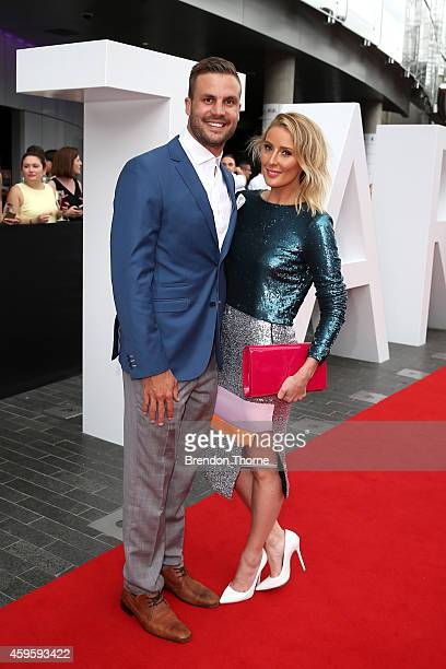 Beau Ryan and his wife arrive at the 28th Annual ARIA Awards 2014 at the Star on November 26 2014 in Sydney Australia