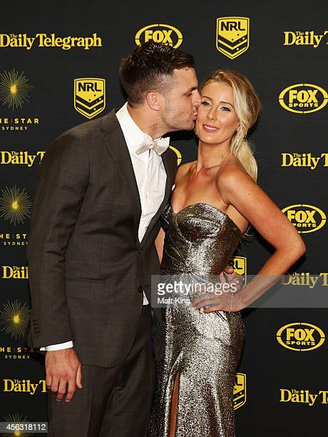 Beau Ryan and Kara Ryan arrive at the Dally M Awards at Star City on September 29 2014 in Sydney Australia