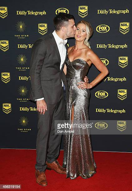 Beau Ryan and wife Kara Ryan arrive at the Dally M Awards at Star City on September 29 2014 in Sydney Australia