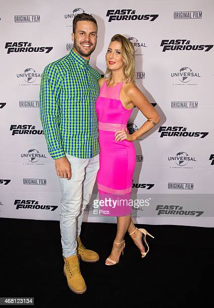 Beau Ryan and wife Kara Ryan attend the Australian Premiere of Fast and Furious 7 at Entertainment quarter on March 30 2015 in Sydney Australia