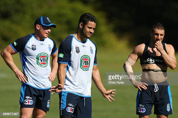 Beau Scott Jarryd Hayne and Robbie Farah look on during the New South Wales Blues State of Origin training session on May 25 2014 in Coffs Harbour...