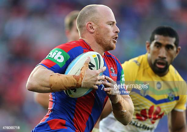 Beau Scott of Knights in action during the round 13 NRL match between the Newcastle Knights and Canberra Raiders at Hunter Stadium on June 6 2015 in...