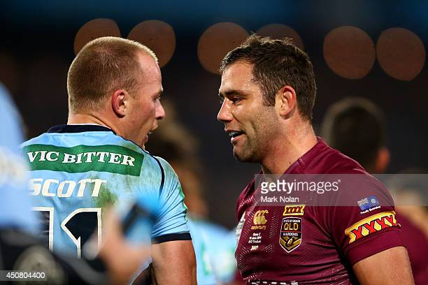 Beau Scott of the Blues and Cameron Smith of the Maroons talk during game two of the State of Origin series between the New South Wales Blues and the...