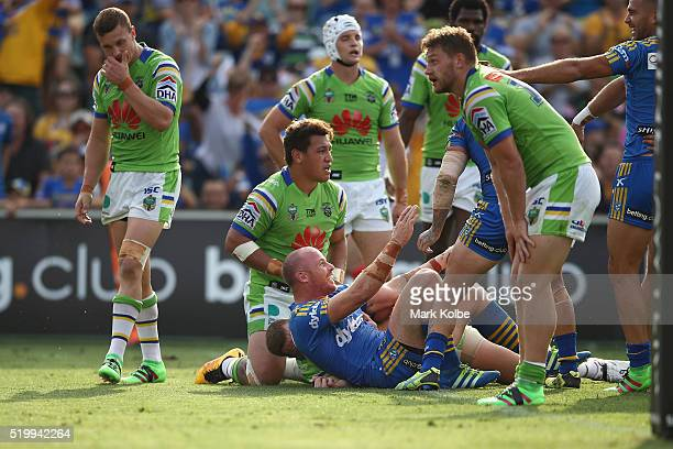 Beau Scott of the Eels celebrates scoring a try during the round six NRL match between the Parramatta Eels and the Canberra Raiders at Pirtek Stadium...
