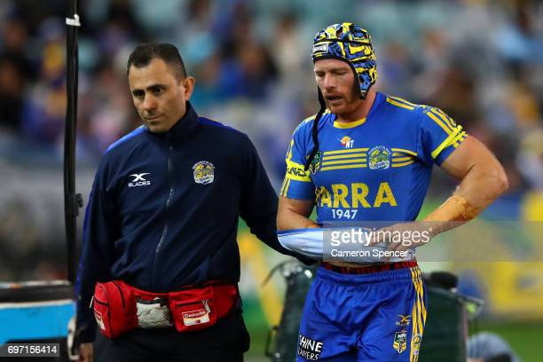 Beau Scott of the Eels leaves the field injured during the round 15 NRL match between the Parramatta Eels and the St George Illawarra Dragons at ANZ...