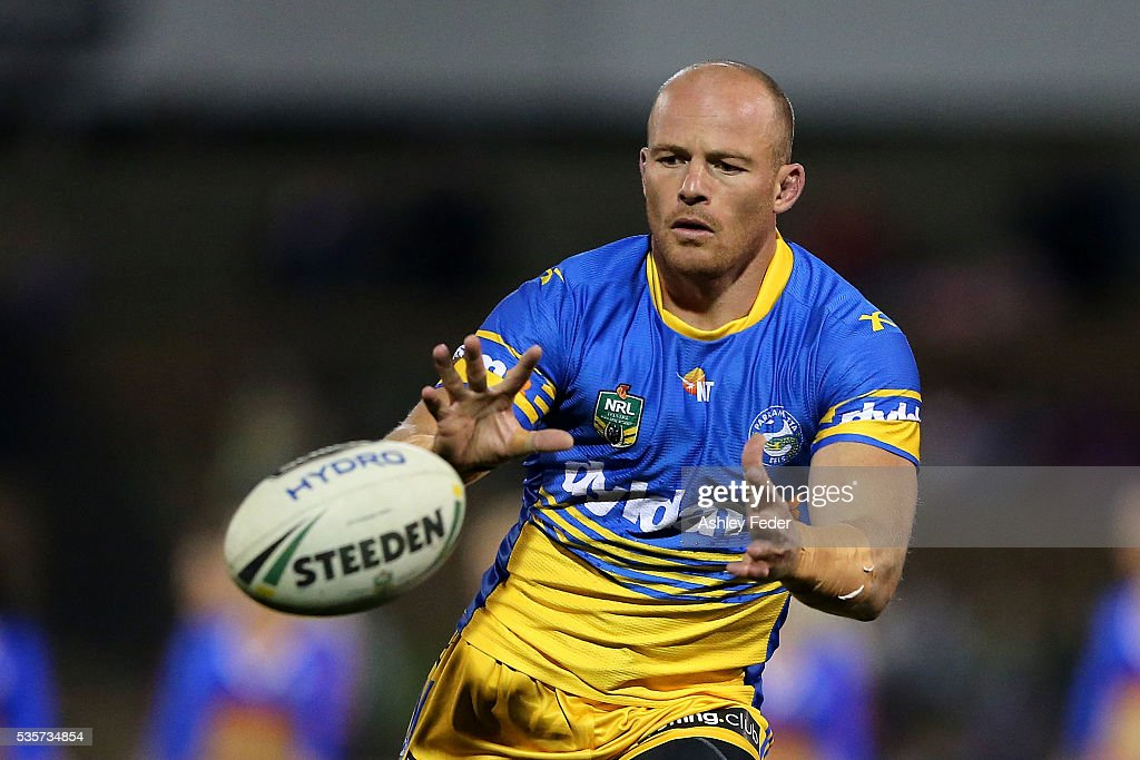 <a gi-track='captionPersonalityLinkClicked' href=/galleries/search?phrase=Beau+Scott&family=editorial&specificpeople=625951 ng-click='$event.stopPropagation()'>Beau Scott</a> of the Eels warms up during the round 12 NRL match between the Newcastle Knights and the Parramatta Eels at Hunter Stadium on May 30, 2016 in Newcastle, Australia.