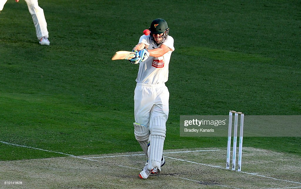 Beau Webster of Tasmania bats during day one of the Sheffield Shield match between Queensland and Tasmania at The Gabba on February 14, 2016 in Brisbane, Australia.