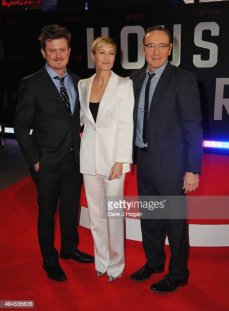 Beau Willimon Robin Wright and Kevin Spacey attend the World Premiere of 'House of Cards' Season 3 at The Empire Cinema on February 26 2015 in London...