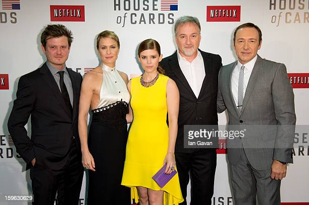 Beau Willimon Robin Wright Kate Mara David Fincher and Kevin Spacey attend the red carpet premiere for the launch of Netflix Original Series 'House...