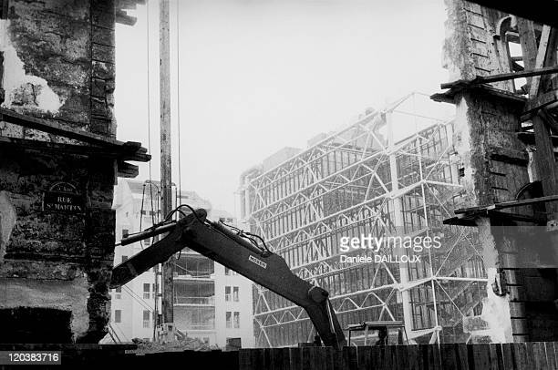 Beaubourg Construction Of Centre Pompidou In Paris France Centre Georges Pompidou