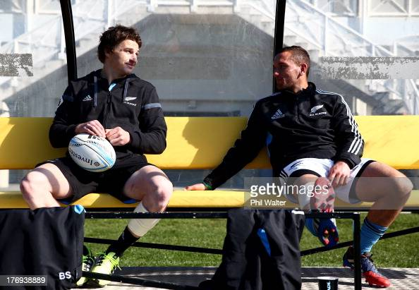 Beauden Barrett and Aaron Cruden of the All Blacks sit out training with injuries during a New Zealand All Blacks training session at the Lower Hutt...