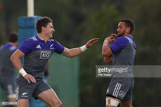 Beauden Barrett and Aaron Cruden of the New Zealand All Blacks warm up during a training session at CUS Roma on November 10 2016 in Rome Italy