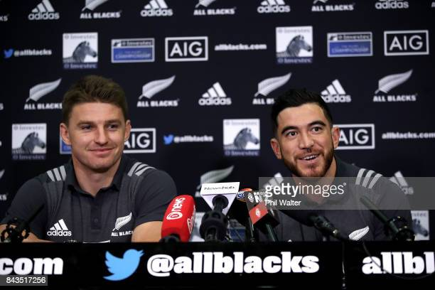 Beauden Barrett and Nehe MilnerSkudder of the All Blacks speaks to media ahead of a New Zealand All Blacks training session at Yarrow Stadium on...