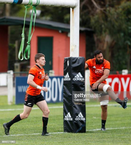 Beauden Barrett and Patrick Tuipulotu of All Blacks in action during a New Zealand training session at San Isidro Club on September 28 2017 in San...