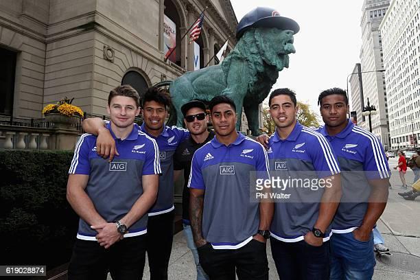 Beauden Barrett Ardie Savea Israel Dagg Malakai Fekitao Anton Lienert_Brown and Julian Savea of the New Zealand All Blacks pose in front of the...