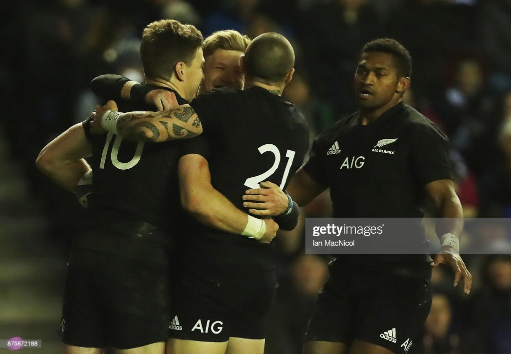 Beauden Barrett of New Zealand celebrates after he score his teams third try during the International test match between Scotland and New Zealand at Murrayfield Stadium on November 18, 2017 in Edinburgh, Scotland.