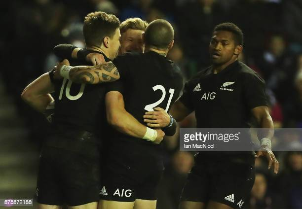 Beauden Barrett of New Zealand celebrates after he score his teams third try during the International test match between Scotland and New Zealand at...