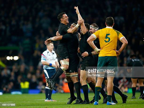 Beauden Barrett of New Zealand celebrates scoring his team's third try during the 2015 Rugby World Cup Final match between New Zealand and Australia...