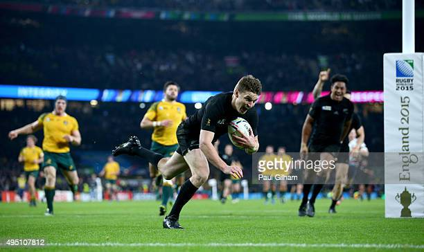 Beauden Barrett of New Zealand dives over to score his team's third try during the 2015 Rugby World Cup Final match between New Zealand and Australia...