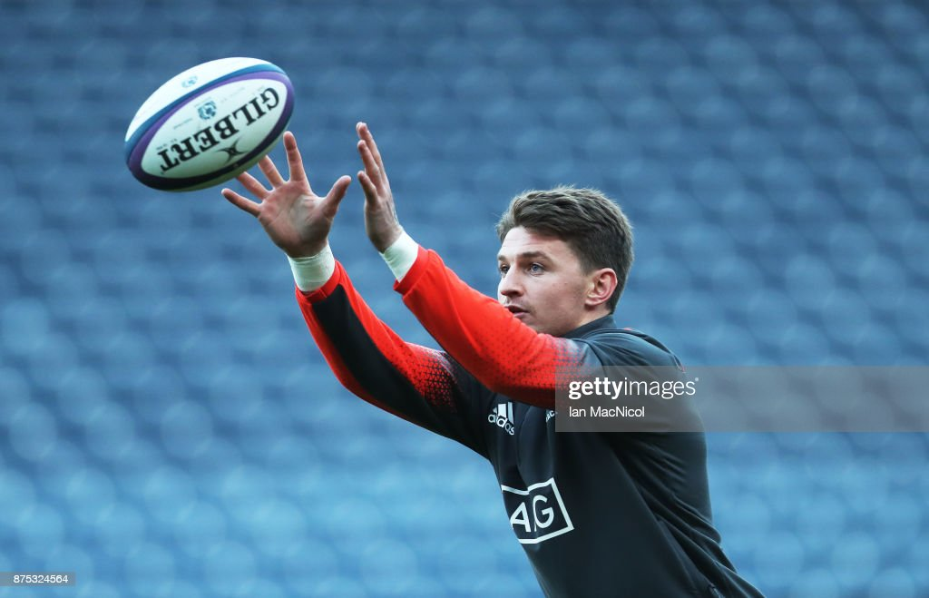 Beauden Barrett of New Zealand is seen during the Captains Run at Murrayfield Stadium on November 17, 2017 in Edinburgh, Scotland.