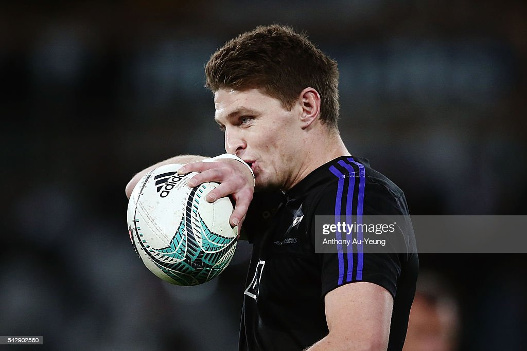 <a gi-track='captionPersonalityLinkClicked' href=/galleries/search?phrase=Beauden+Barrett&family=editorial&specificpeople=7264286 ng-click='$event.stopPropagation()'>Beauden Barrett</a> of New Zealand prepares himself prior to the International Test match between the New Zealand All Blacks and Wales at Forsyth Barr Stadium on June 25, 2016 in Dunedin, New Zealand.