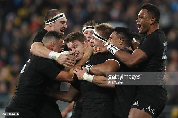 Beauden Barrett of the All Blacks celebrates his try during the International Test match between the New Zealand All Blacks and Wales at Westpac...