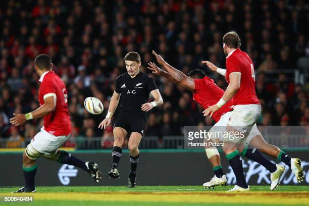 Beauden Barrett of the All Blacks chips the ball through during the Test match between the New Zealand All Blacks and the British Irish Lions at Eden...