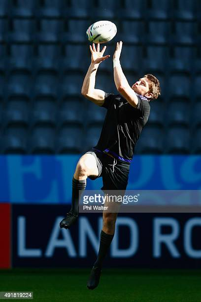 Beauden Barrett of the All Blacks collects a high ball during a New Zealand All Blacks Captain's Run at St James Park on October 8 2015 in Newcastle...